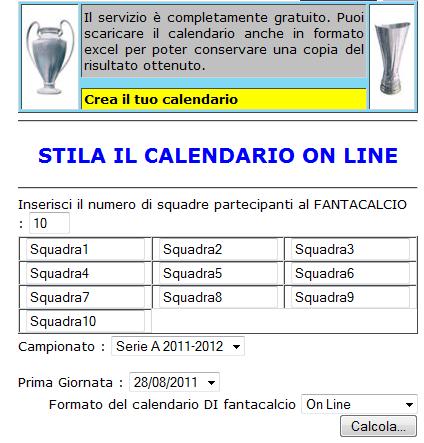 crea il tuo calendario, creare calendario per torneo gratis online, creare un calendario per fantacalcio automaticamente online, come creare un calendario per tornei di calcetto gratis online