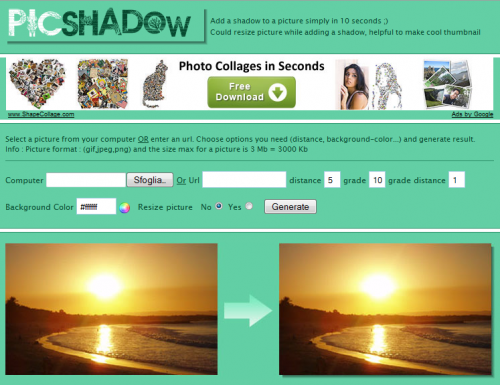Picshadow aggiungere gratis l effetto ombra alle foto for Ombra in inglese