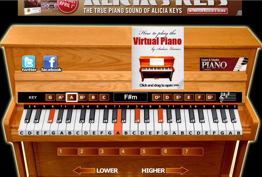 The virtual piano suonare il pianoforte gratis online for Strumento online gratuito piano piano