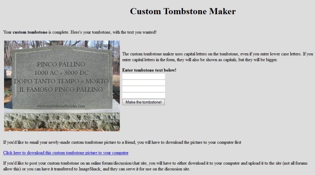 Programma online per creare scritte su tombe e lapidi for Come costruire un programma online casa gratuitamente