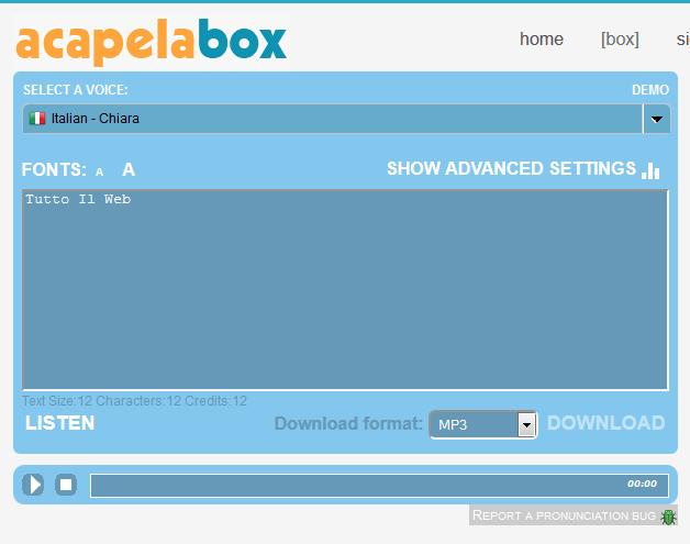 ACAPELA BOX - CONVERTIRE UN TESTO IN FORMATO MP3 ONLINE GRATIS