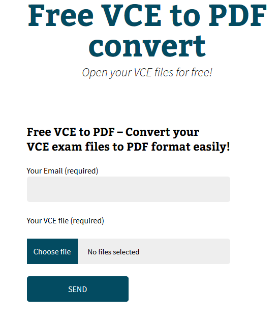 FREE VCE TO PDF CONVERT - CONVERTIRE FILE VCE IN FORMATO PDF ONLINE GRATIS