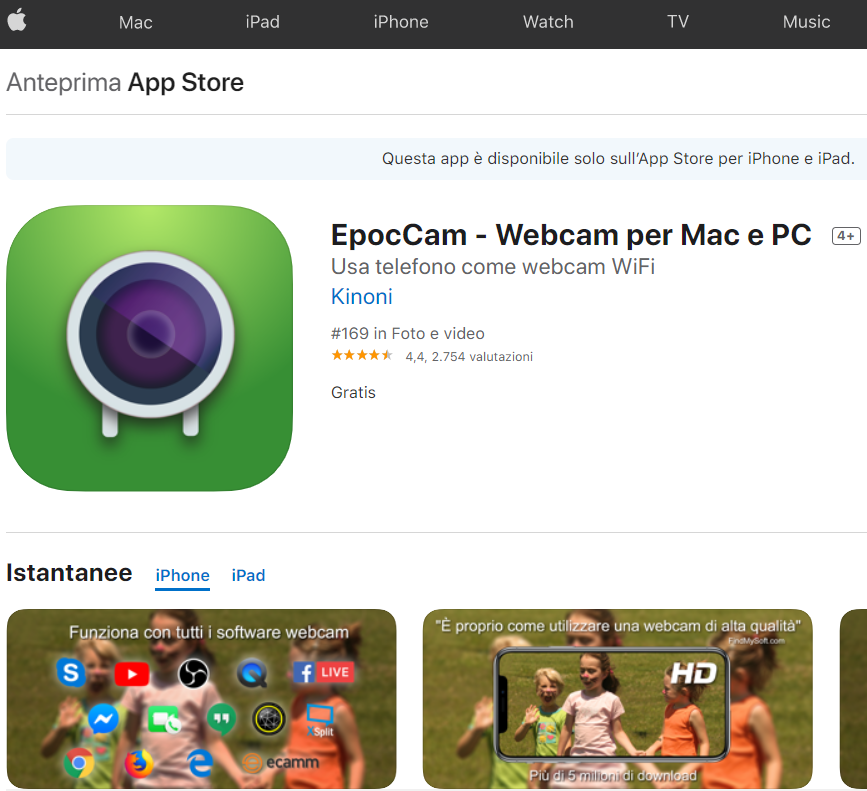 COME USARE IPHONE E IPAD COME WEBCAM SU PC E MAC